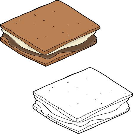 indulgence: Hand drawn smore snack over isolated background