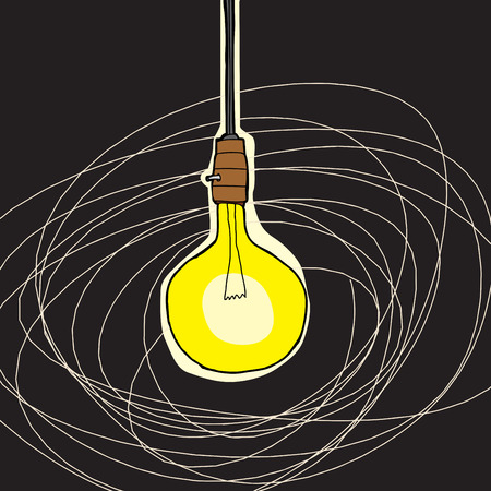 Abstract cartoon of bare bulb lamp over black background