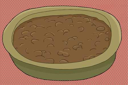 baked beans: Single bowl of baked beans over halftone background