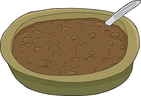 Single cartoon bowl of chili with spoon inside
