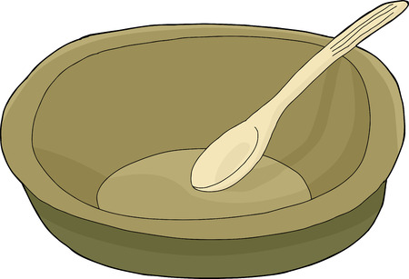empty bowl: Cartoon of empty bowl with spoon on isolated background Illustration