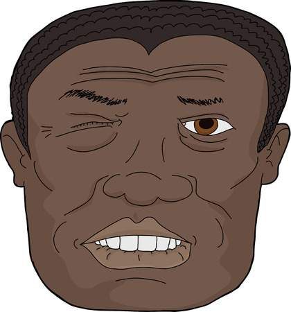 Close up of adult African man biting lip  on white background