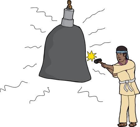 伝統的な日本人服大きな鐘を打つ男