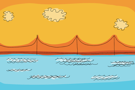 川に架かる吊り橋の背景落書き  イラスト・ベクター素材