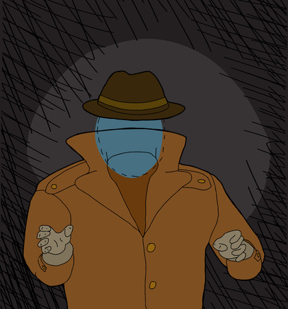 Invisible man with hat reaching in shadows cartoon Ilustração