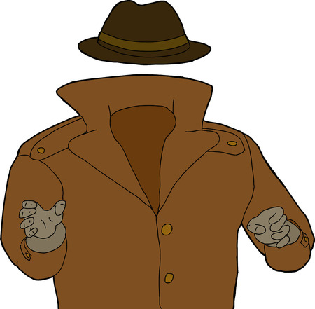 mystique: Cartoon of trench coat and hat around invisible man Illustration