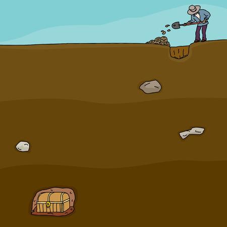 남자의 만화 묻혀있는 보물 상자 파고