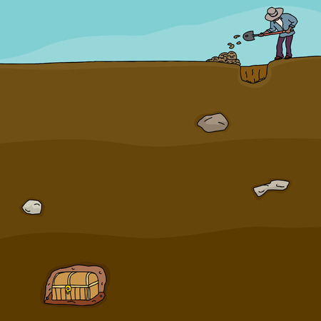 buried: Cartoon of man digging for buried treasure chest