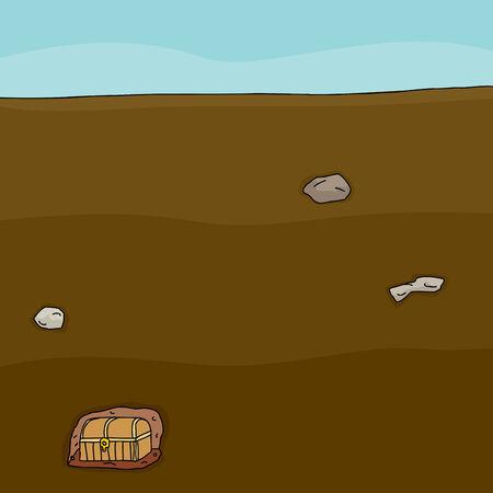 Pojedyncze ukryty skarb zakopany głęboko pod ziemią