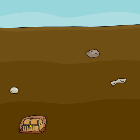 Single hidden treasure chest buried deep underground