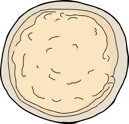 Top view cartoon of snack dip in bowl