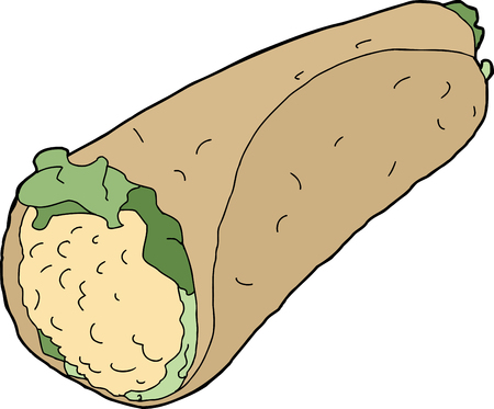 pita bread: Chicken salad wrap with lettuce over white background Illustration