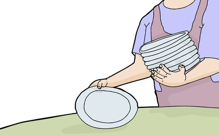 Cartoon of woman holding stack of plates Vector