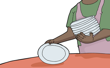 Woman with stack of plates setting a table Vector