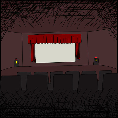 movie screen: Empty cartoon movie theater with blank screen