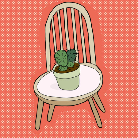 prickly: Pot of cactus plant on seat of chair