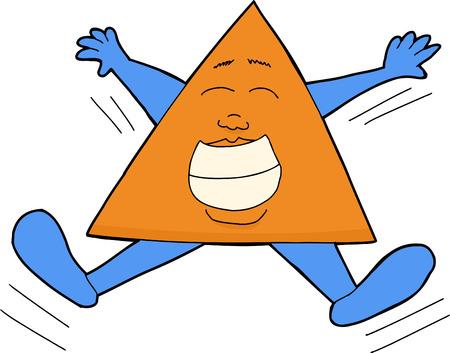 rejoicing: Sorridente triangolo persona saltando su e gi�
