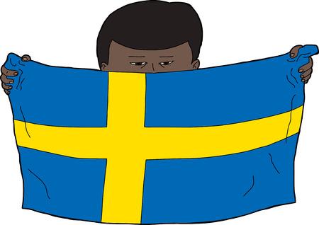 sweden flag: Swedish Asian boy holding a Swedish flag Illustration