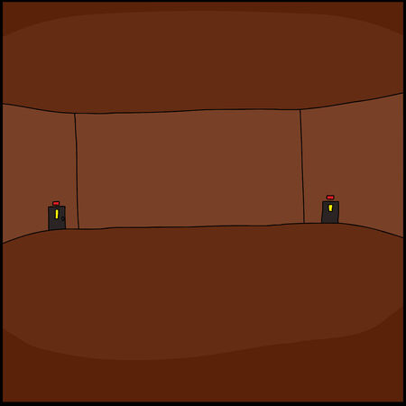 Large empty convention room with exit doors