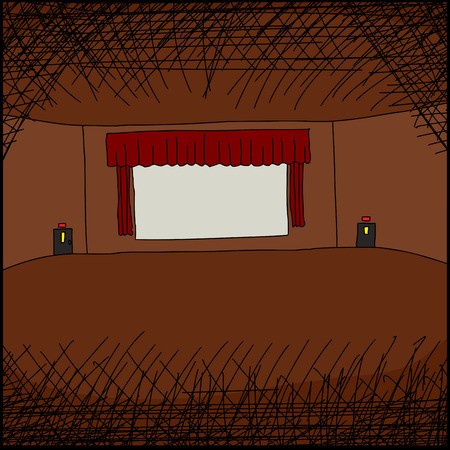 movie screen: Blank movie screen in large empty room