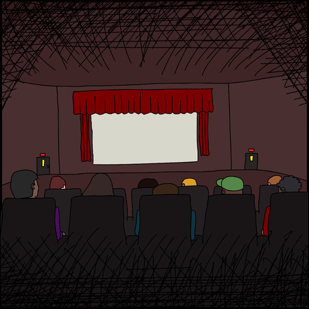 movie screen: Group of people watching a blank movie screen
