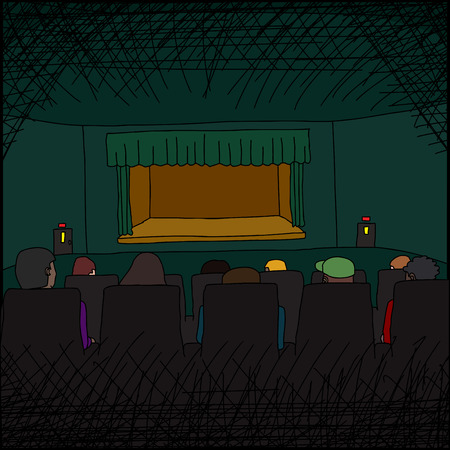 stage door: Theater performance audience and empty stage cartoon