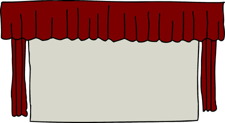 Single isolated movie screen with red curtains Vector