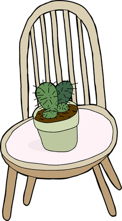 Isolated cartoon chair with cactus plant on top Ilustrace
