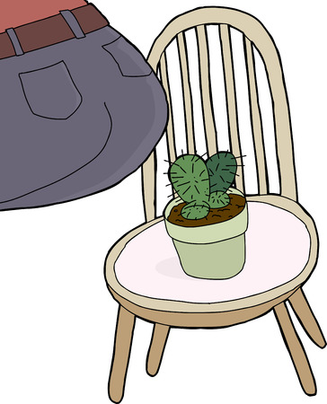prickly pear: Rear end of person sitting on chair with cactus