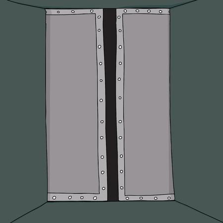 Cartoon van gedeeltelijk open deur in de gang