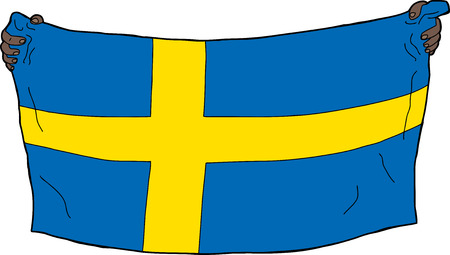 Hands holding a Swedish flag over white background Vector