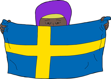 sweden flag: Female Muslim child with hijab holding a swedish flag