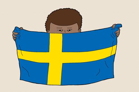 sweden flag: Swedish child of Arab ancestry holding flag Illustration