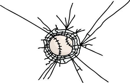 shattered glass: Isolated baseball stuck in shattered glass cartoon Illustration
