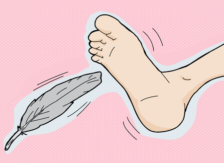 Gray feather tickling bottom of foot on pink background Çizim