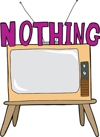 Nothing on television cartoon over isolated white background