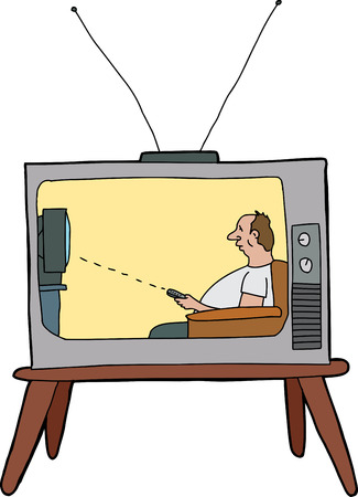 Cartoon television showing man using remote control