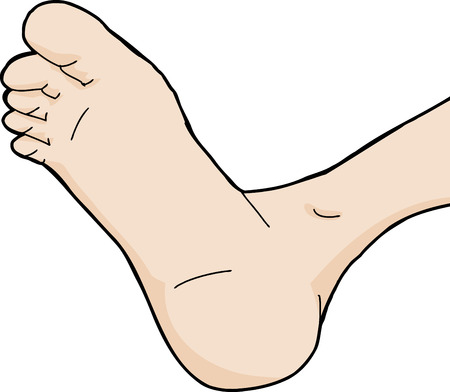 Single isolated foot bottom cartoon on white background Vector
