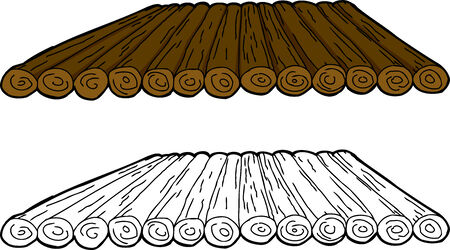 Isolated cartoon wooden makeshift raft over white