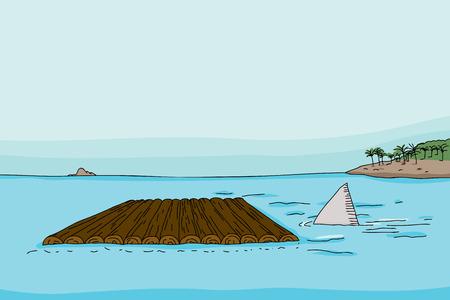 Shark fin behind empty wooden raft in ocean 向量圖像