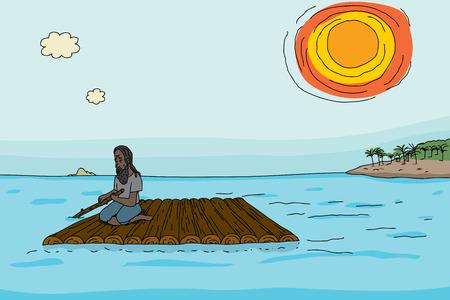 Shipwrecked man in beard steering makeshift wooden raft