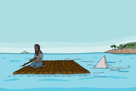 Shark following stranded man on raft in sea Stock Illustratie