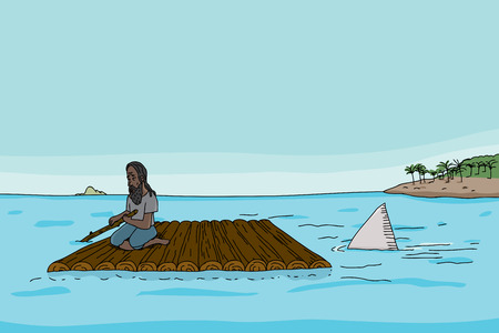 Shark following stranded man on raft in sea Vettoriali