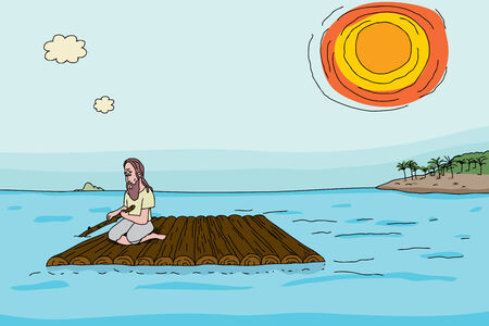 Shipwrecked man on makeshift raft near tropical island