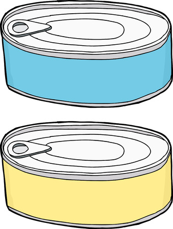 Generic blank pet food containers over white Ilustracja