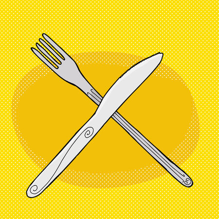 Cartoon knife over fork on halftone yellow background