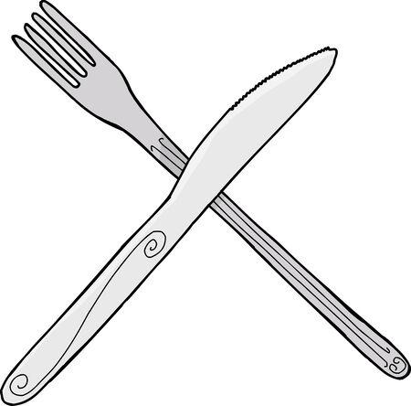 孤立した漫画のナイフとフォークを孤立した背景に