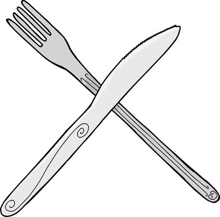 Isolated cartoon knife and fork over isolated background