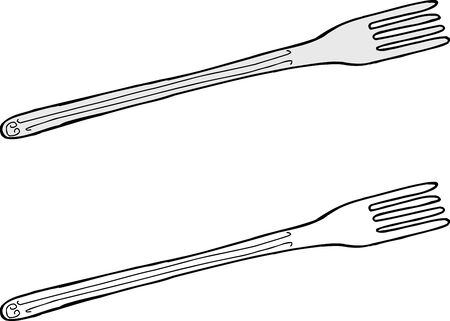 Hand drawn cartoon fork over white background