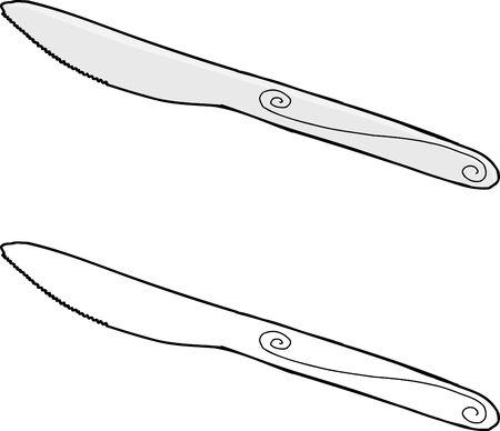 孤立した背景に手書きダイニング ナイフ